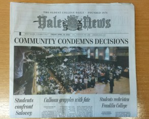 Yale students respond to college naming debacle, April 29, 2016