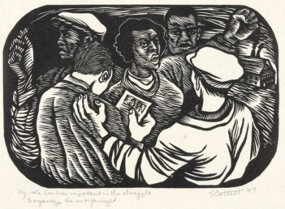 Elizabeth Catlett, My Role Has Been Important in the Struggle to Organize the Unorganized, 1947, linocut