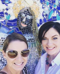 With mosaic of Teenie at Smither Park