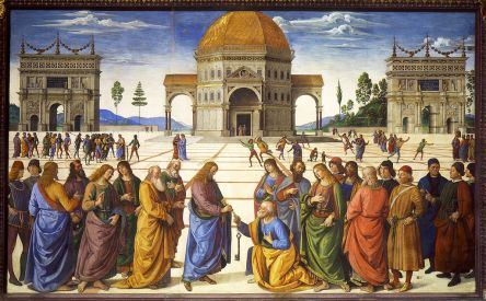 Pietro Perugino, Christ Handing the Keys of the Kingdom to St. Peter, Sistine Chapel, Vatican, Rome, Italy, 1481-83, fresco