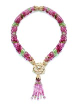 Piaget Rose Passion necklace in 18K pink gold set with 695 brilliant-cut diamonds (approx. 11.70 ct), 1 centre brilliant-cut diamond (approx. 0.5 ct) and multi-colored tourmaline beads (approx. 450.50ct)