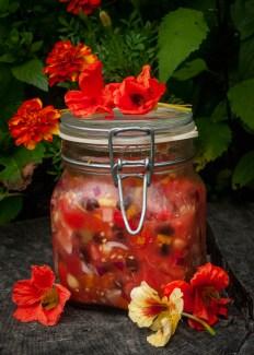 homemade foraged Nasturtium Salsa