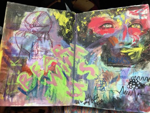 collaborative sketchbook pages