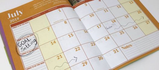 calendar on the month of July with Goal Setting written in the second week