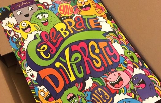 image of notebook cover that says celebrate diversity
