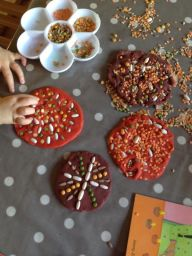 dried bean patterns in play dough