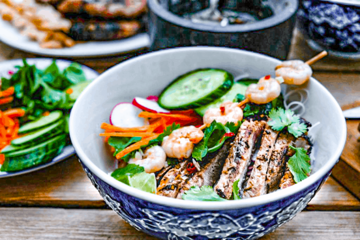 Vietnamese lemongrass pork vermicelli bowls with nuoc cham dressing
