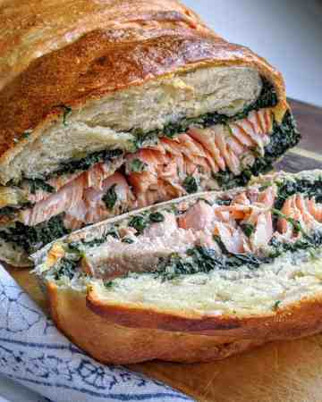 sourdough salmon loaf with creamed spinach