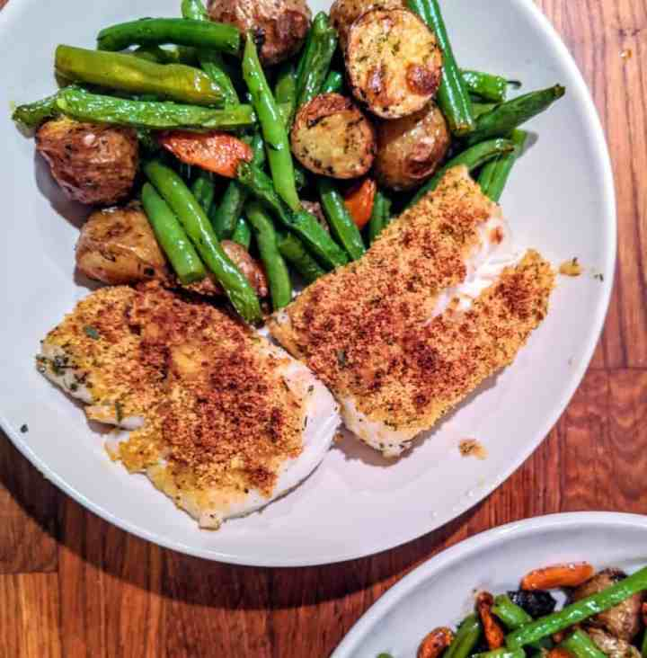 lemony breadcrumb coated cod with roasted root vegetables.