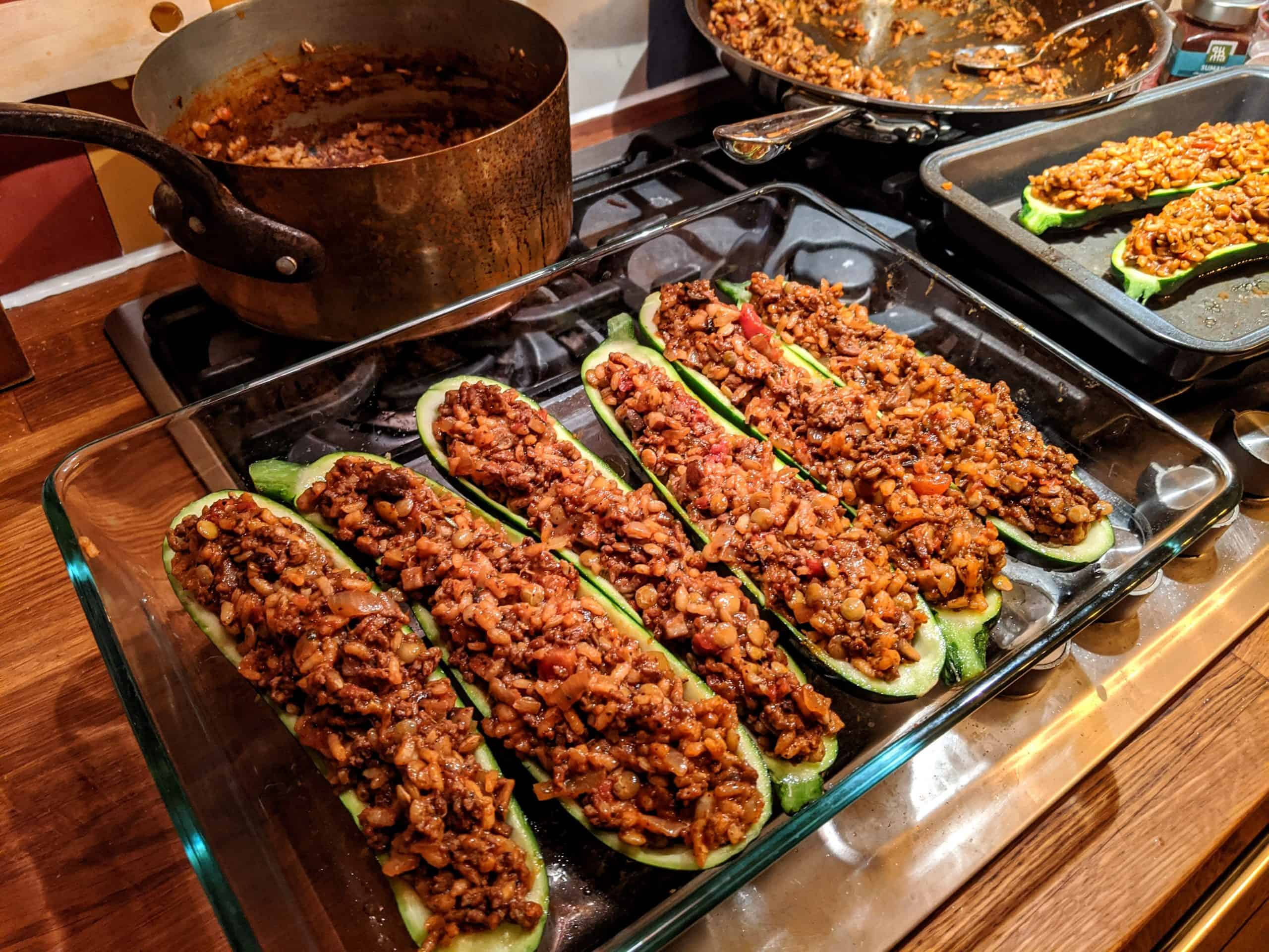 zucchini boats stuffed with beef and vegan with mushrooms and lentils.