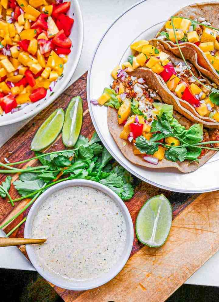 creamy white lightning sauce for mango salsa fish tacos-2635