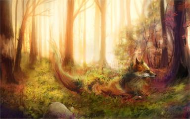 The-most-gorgeous-animation-wonderful-poster-Art-painting-fox-forest-trees-grass-rocks-4-Sizes-Silk