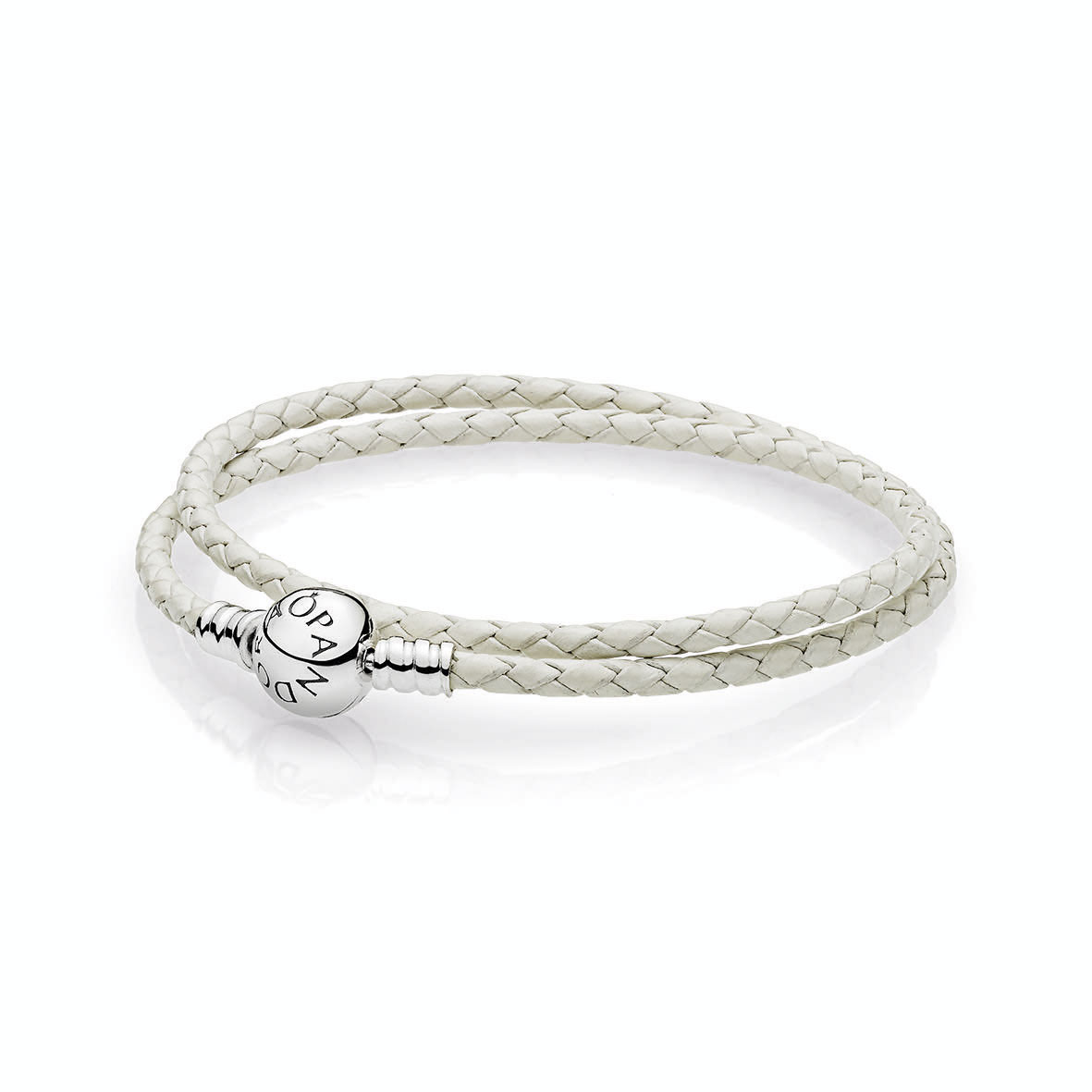Moments Double Woven Leather Bracelet Ivory White The