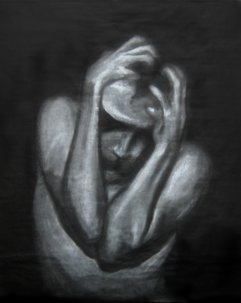 """Contain It"" Black and white charcoal on black drawing paper"