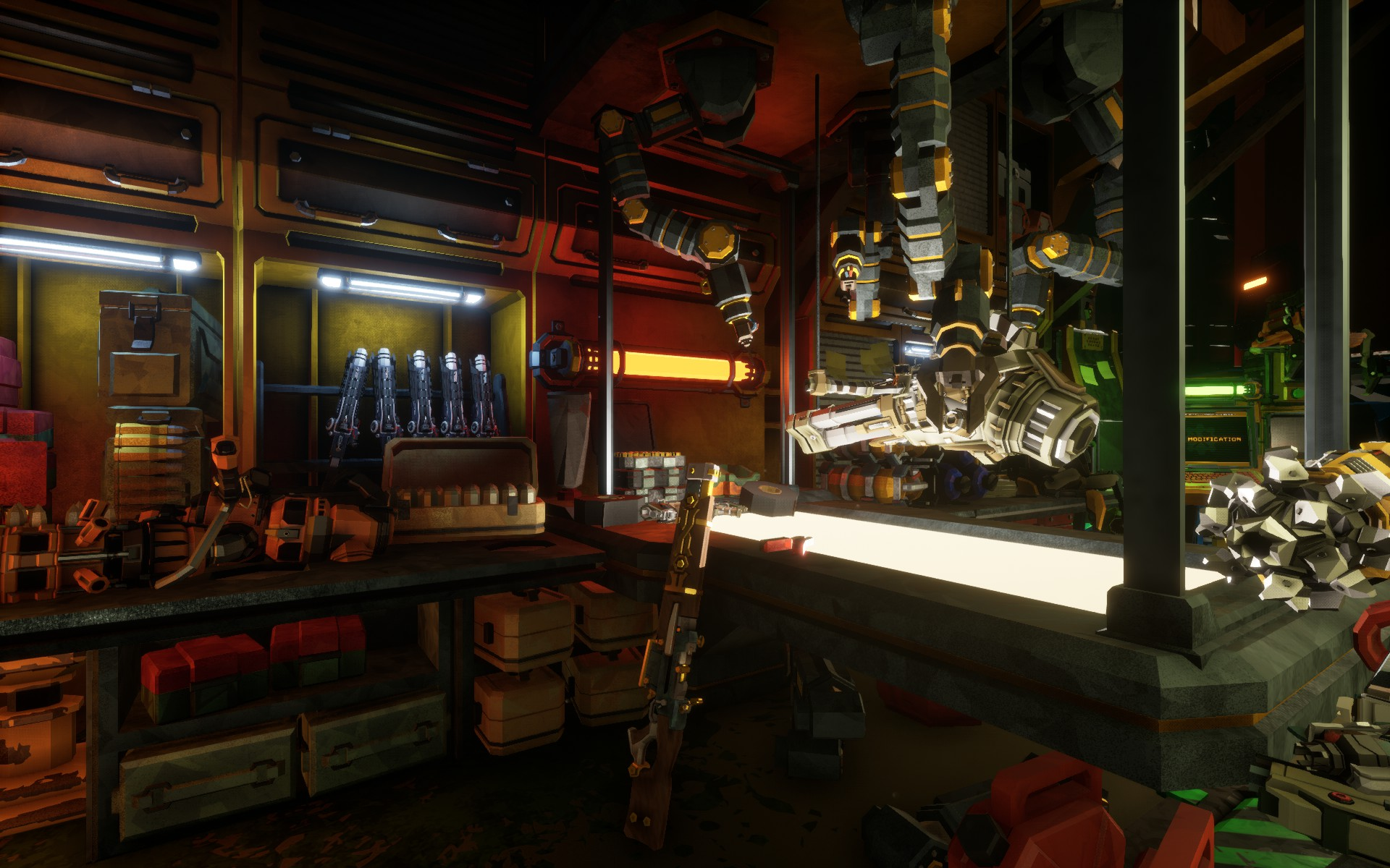 Screenshot of the Space Rig equipment workshop in Deep Rock Galactic