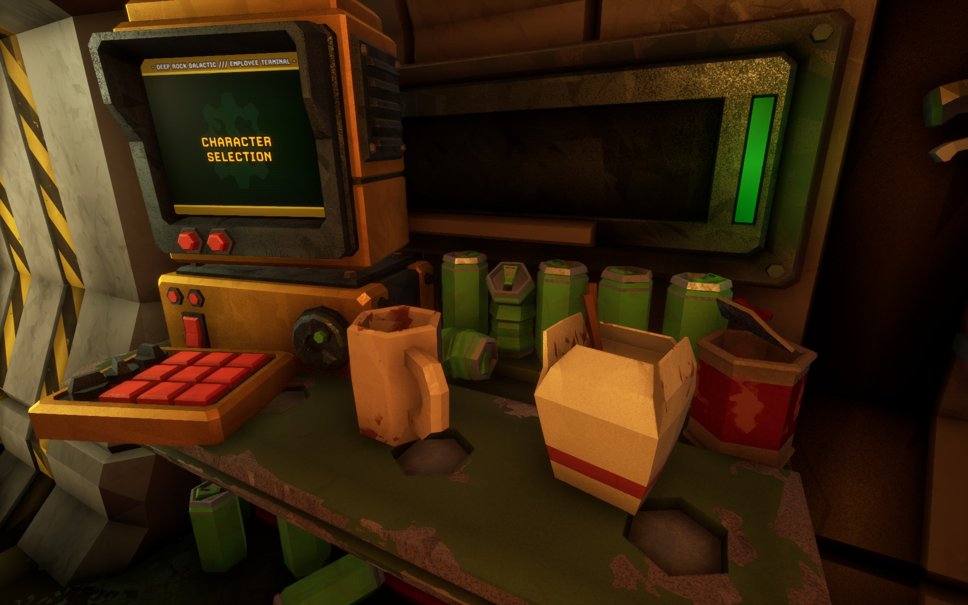 Screenshot of the Space Rig living quarters in Deep Rock Galactic