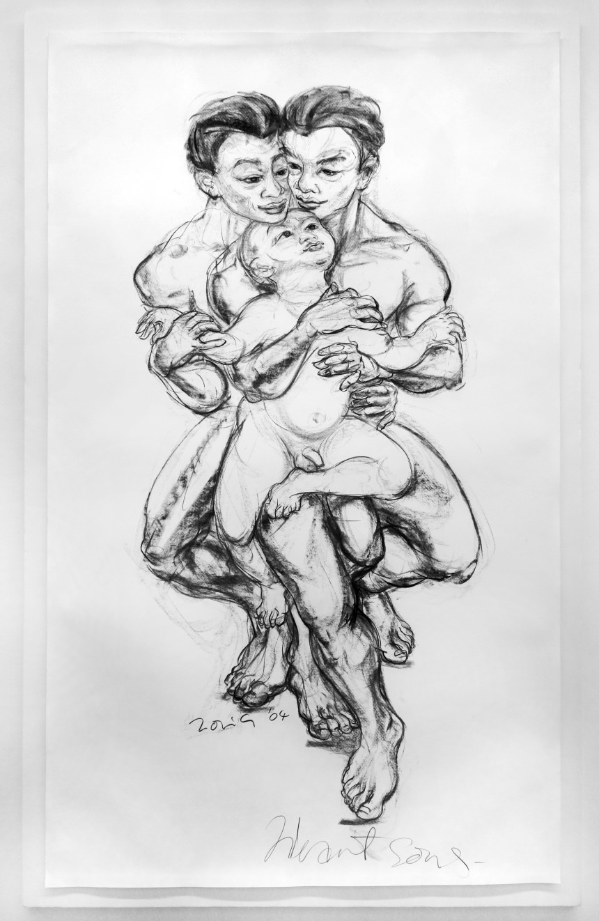 Ong, Jimmy_Heart Sons_2004_Charcoal on paper_216 x 126 cm_3876 x 2520 pixels_Image Courtesy of FOST Gallery