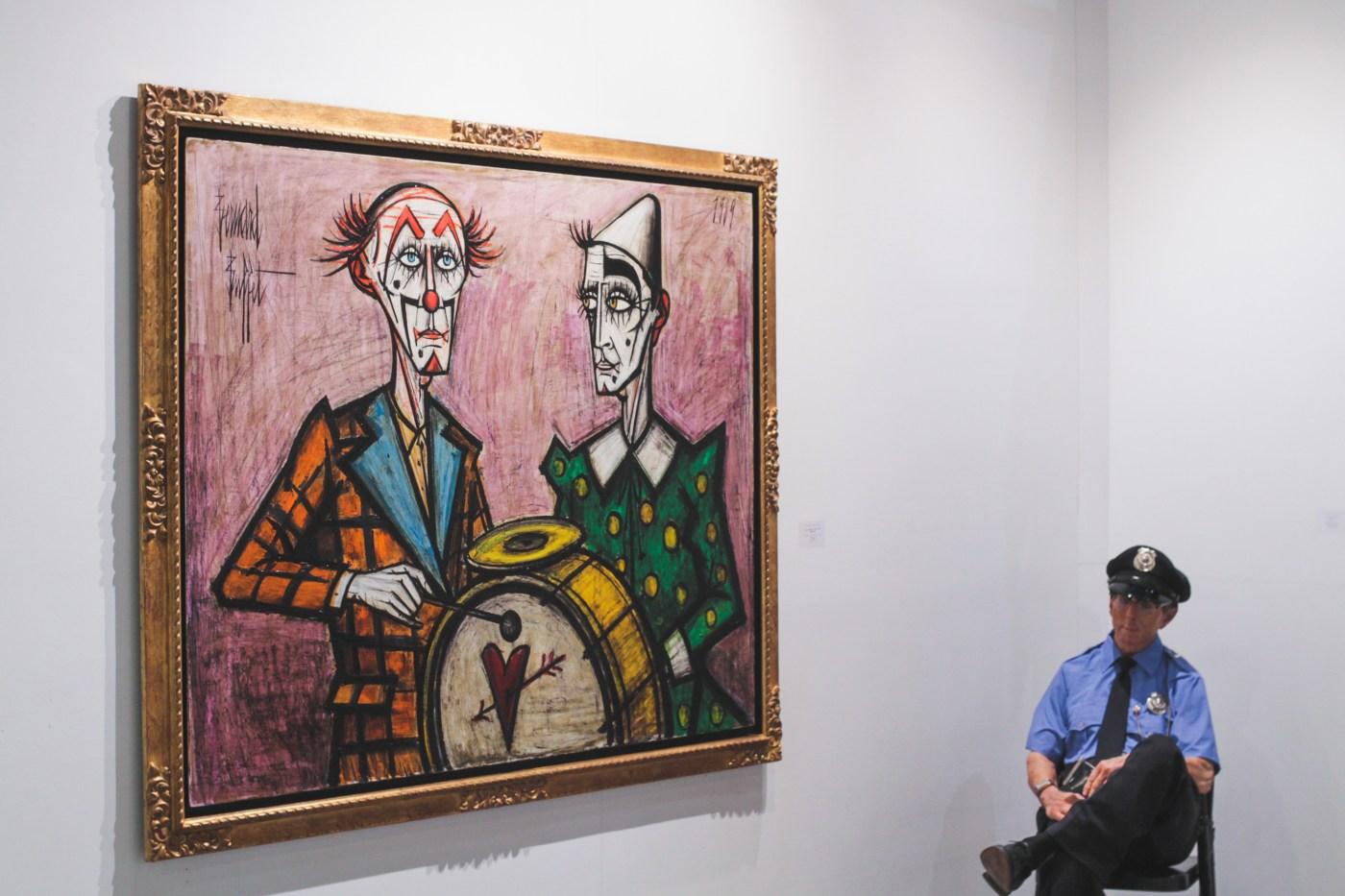 貝爾納布菲Bernard BUFFET Deux Clowns a la Grosse Caisse 布面油畫 130 x 162 cm 1989 (Opera Gallery)