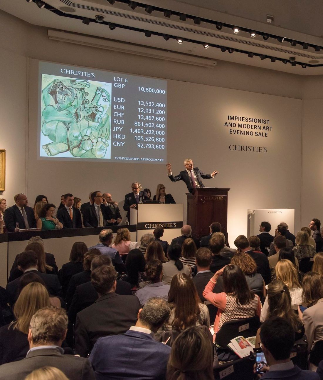 Auctioneer Jussi Pylkkänen at Christie's evening sale of Impressionist and modern art in London. Photo courtesy Christie's.