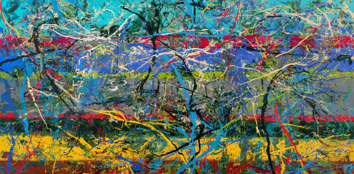薛保瑕,《側顯》,2019, 壓克力彩、畫布,291 × 591 公分, 藝術家自藏 HSUEH Pao-Shia, Lateral Represent, 2019, acrylic on canvas, 29 1x 591 cm,Artist Collection