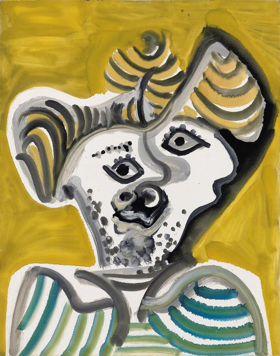 巴勃羅·畢卡索(1881-1973) Tete d'homme (男人頭像) 1972年 布面油畫 高. 92 x 寬. 73公分 BASTIAN,柏林、倫敦