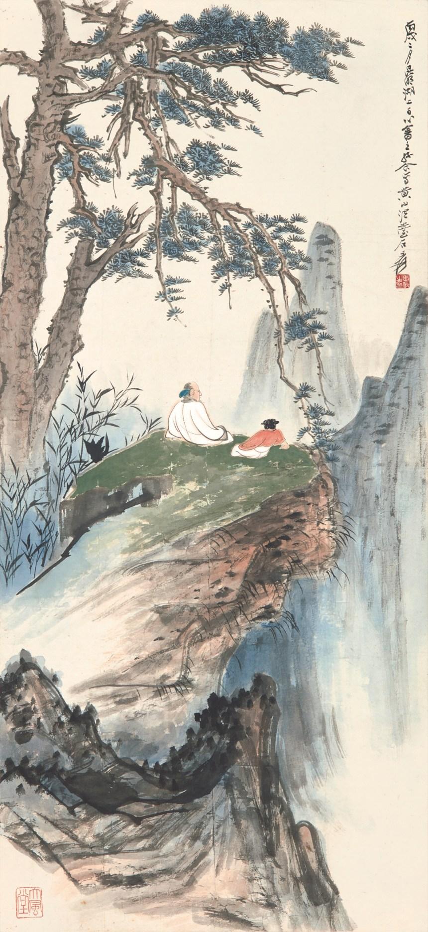 張大千、溥儒《松崖高逸》 1946年作,設色紙本 鏡框,94 x 43.3 公分 估價:850,000-1,000,000港元 Photo credit © Sotheby's