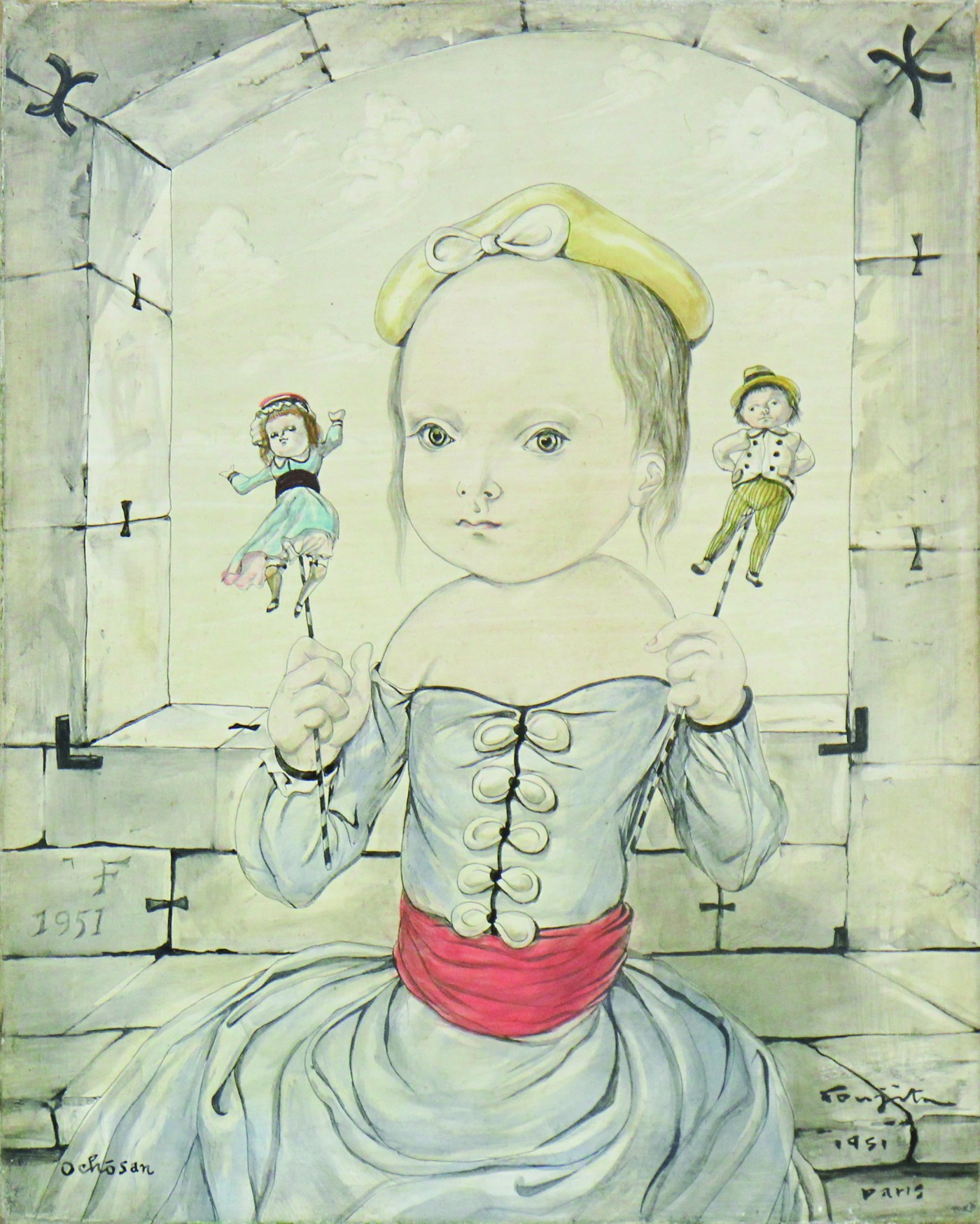 ART TAIPEI 2019 highlight - 藤田嗣治Leonard FOUJITA Dolls and girl 油彩、畫布 24.2x19.3cm 1951