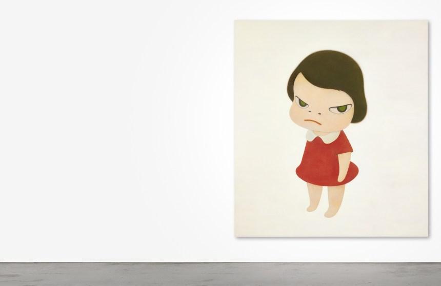 Yoshitomo Nara - Knife Behind Back 奈良美智《背後藏刀》,2000年,壓克力畫布,234 x 208公分,估價待詢