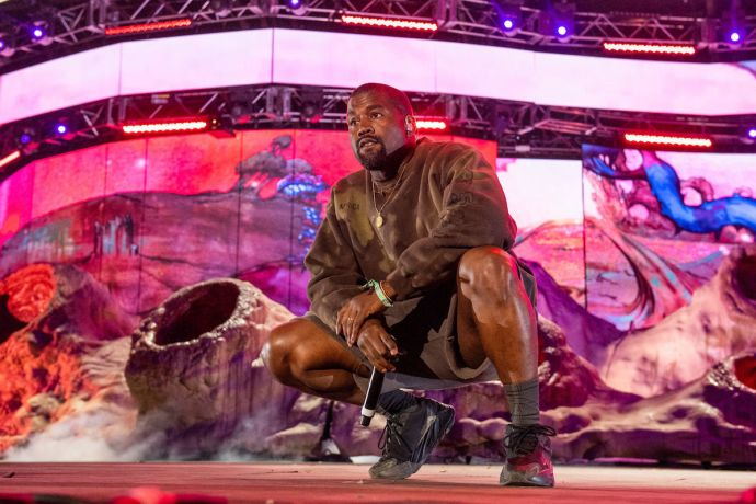 INDIO, CALIFORNIA - APRIL 20: Kanye West performs during 2019 Coachella Valley Music And Arts Festival on April 20, 2019 in Indio, California. (Photo by Timothy Norris/Getty Images for Coachella)