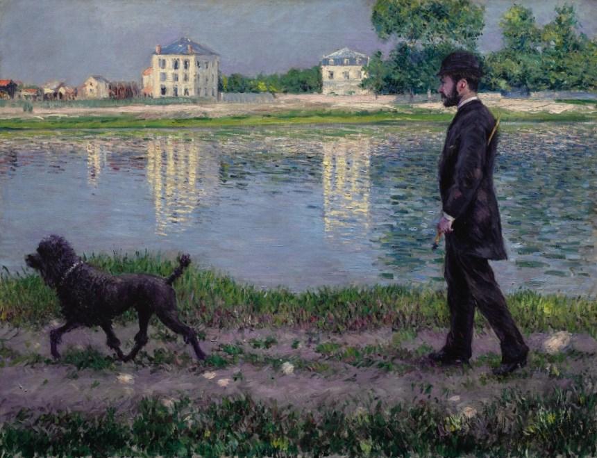 古斯塔夫・卡勒波特《在小熱訥維耶散步的理查・加羅和小狗迪克》,1884年作。成交價19,686,000美元。.jpeg