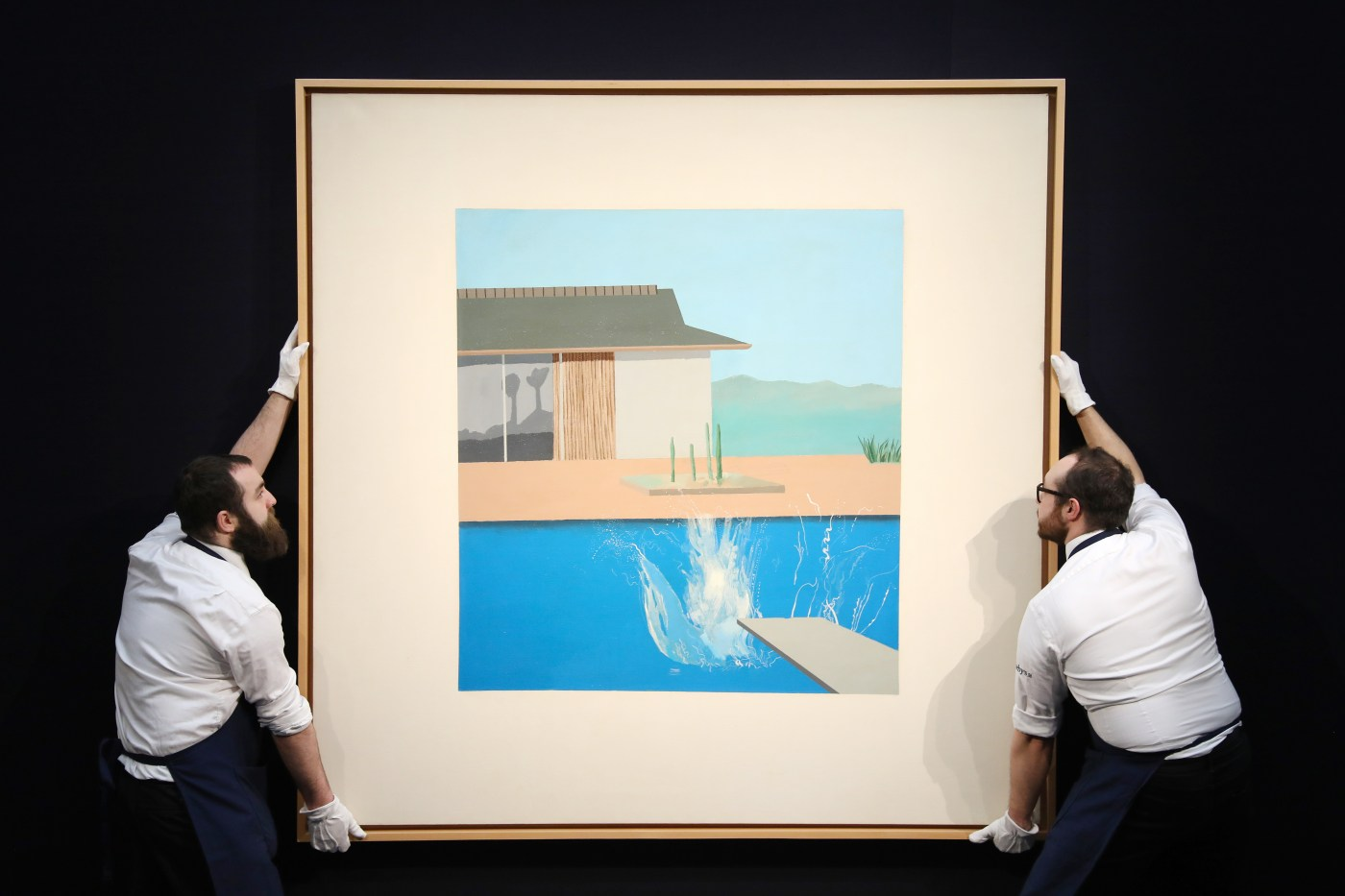 Courtesy of Sotheby's Contemporary Art Evening Auction | 11 February 2020 Lot 16 David Hockney The Splash 1966 72 by David Hockney 72in. Est. £20 - 30 million