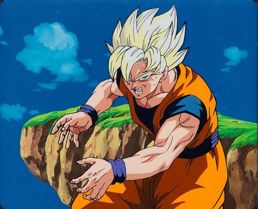 Dragon Ball Z by Toei Animation_Super Saiyan Goku Animation Cel 東映動畫「龍珠 Z」 《超級撒亞人手稿》 1989-1996 年作,壓克力紙本,20 x 25 公分 Courtesy of Sotheby's