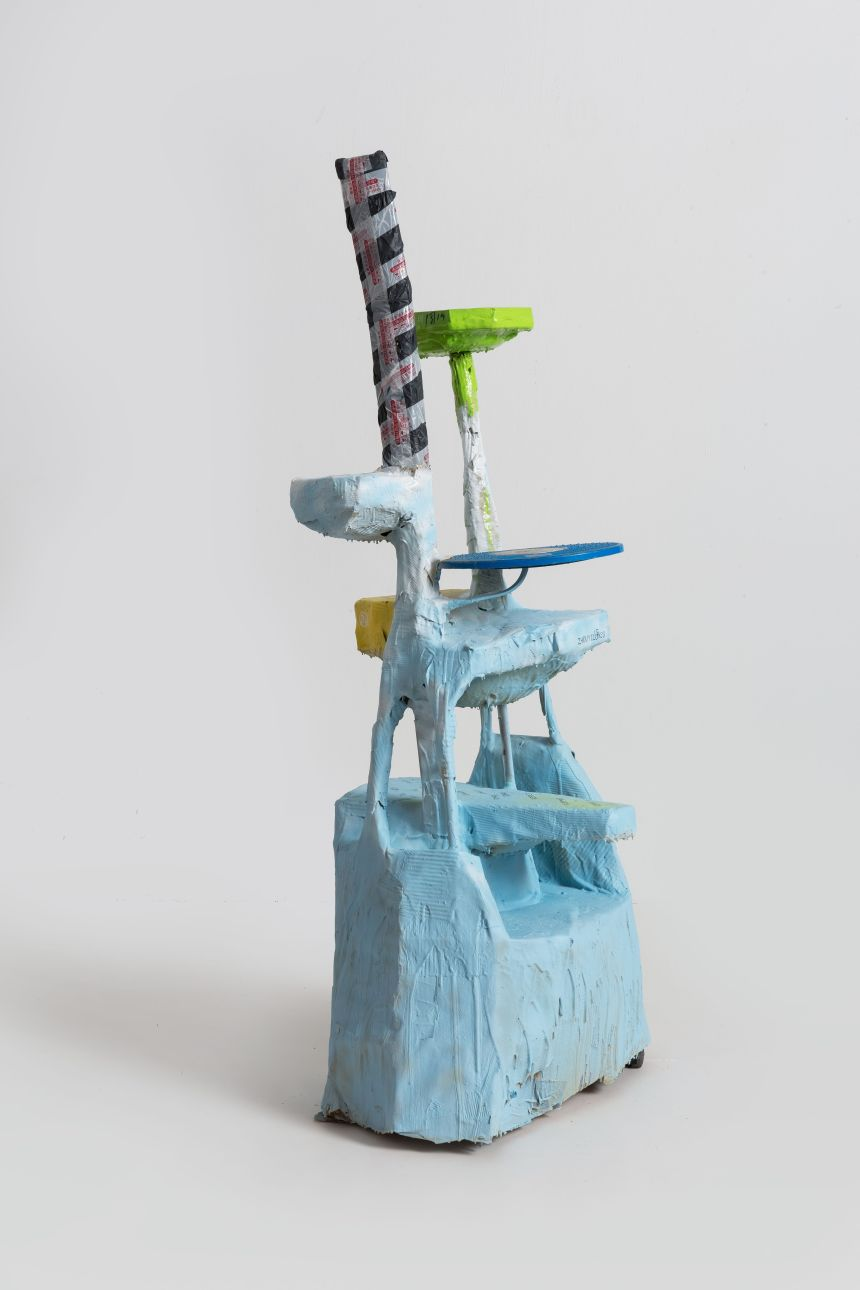 Zhou Yilun Shelf Sculpture Based on a Cat Tree, 2019 Metal chair, extruded polystyrene foam, polyurethane varnish, spray paint, polyurethane foam 85 x 72 x 189 cm Courtesy of the artist and Beijing Commune