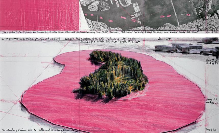 """Christo Surrounded Islands (Project for Biscayne Bay, Greater Miami, Florida) Drawing 1982 in two parts Pencil, charcoal, pastel, wax crayon, enamel paint, aerial photograph and fabric sample 15 x 96"""" and 42 x 96"""" (38 x 244 cm and 106.6 x 244 cm) Photo: Wolfgang Volz © 1982 Christo Ref. # 36"""