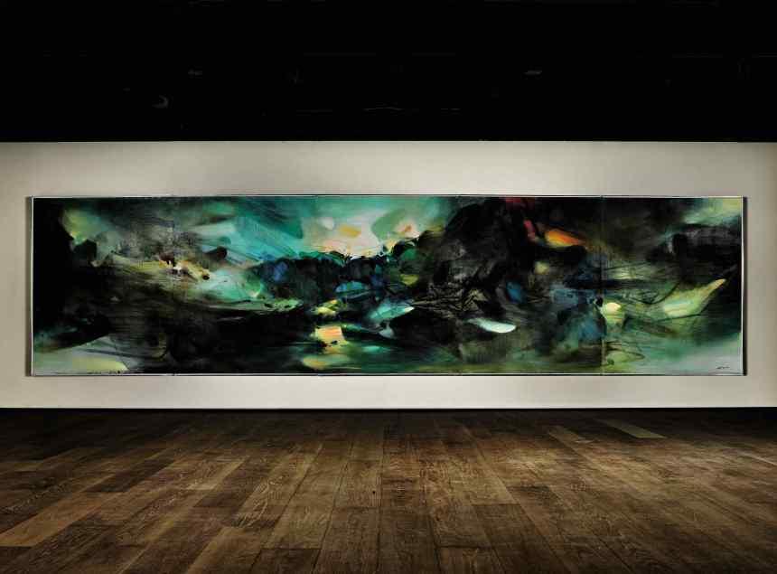 Chu Teh-Chun_Les elements confederes, 朱德群《自然頌》, 1983 至 84 年作,油畫畫布(五聯屏),162 x 650 公分, 估價待詢, Courtesy of Sotheby's
