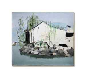 Wu Guanzhong_Hometown of Lu Xun, 吳冠中《魯迅鄉土》 1985 年作 油畫畫布,46 x 53 公分 估價:7,000,000 至 12,000,000 港元, Courtesy of Sotheby's