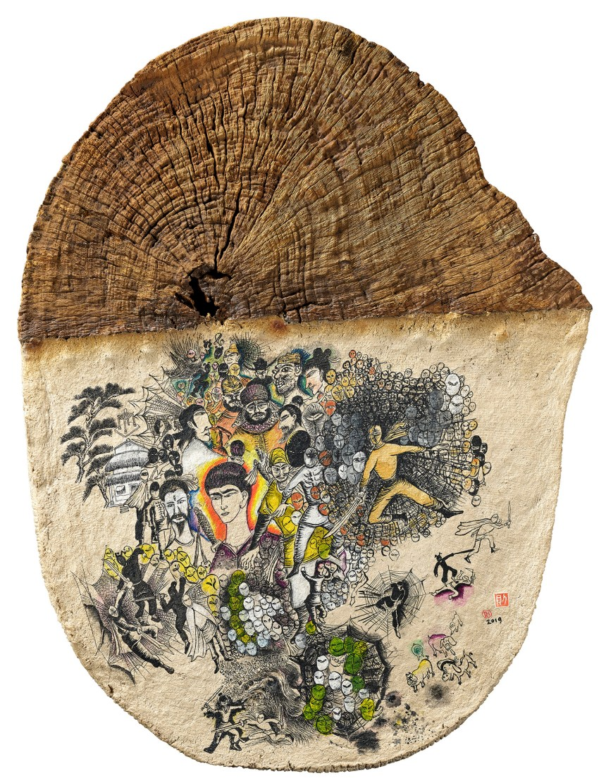 李明則 LEE Ming-tse, 《自己的武林》 Own Wulin, 2019 木頭、紙漿、樹脂、壓克力顏料 Wood, paper pulp,resin,acrylic 73.5 x 56 cm, Courtesy of Mind Set Art Center 安卓藝術