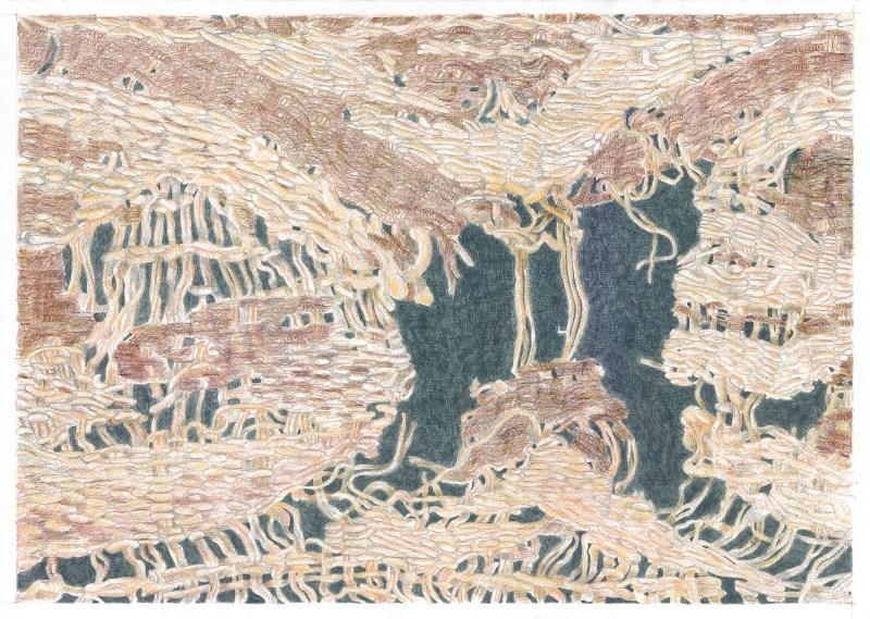 Juliane Laitzsch_Detail_of_a_fragment_02_2016 _鉛筆、色鉛筆、紙本_42x59.4cm, Courtesy of 本事藝術 Solid Art