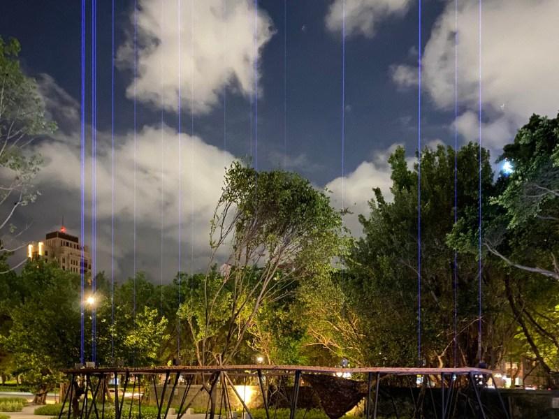 許巽翔將以「磚循環」及靠仁愛路側的景觀創作光環境藝術作品「發散度」、「流景」,此為作品示意圖。