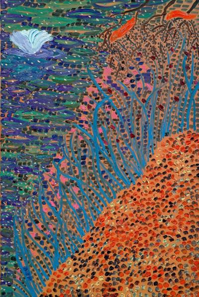 王俊傑 《Lotus》2017年作 油畫 畫布,152.4 x 101.6公分 估價:$400,000-600,000美元 © 2021 Monita K.Y. Cheng / Artists Rights Society (ARS), New York