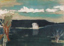 吳增榮 WU Tseng Jung ,《墾丁青蛙石遠眺船帆石》 Gazing Sail Rock from Frog Rock of Kenting 1993 水彩、紙 Watercolor on paper 78.8 x 108.9 cm, Courtesy of 安卓藝術 Mind Set Art Center