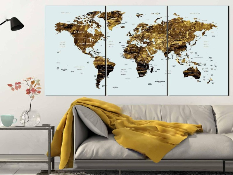 20 Best Collection of Large World Map Wall Art Gold Color Map Art world Map Canvas Art world Map Wall Art large