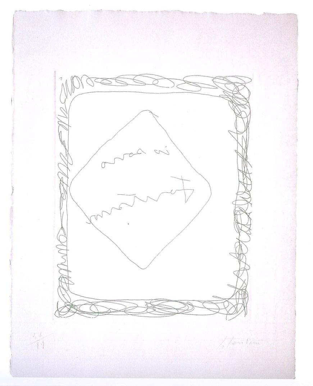 Лучио Фонтана. «Ио Соно Фонтана», гравюра, 19,7х15,8 см, 1966
