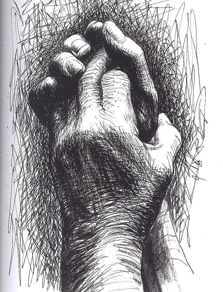 Гэнри Мур. «Руки художника», смешанная техника. 25,4х17,6 см, 1974