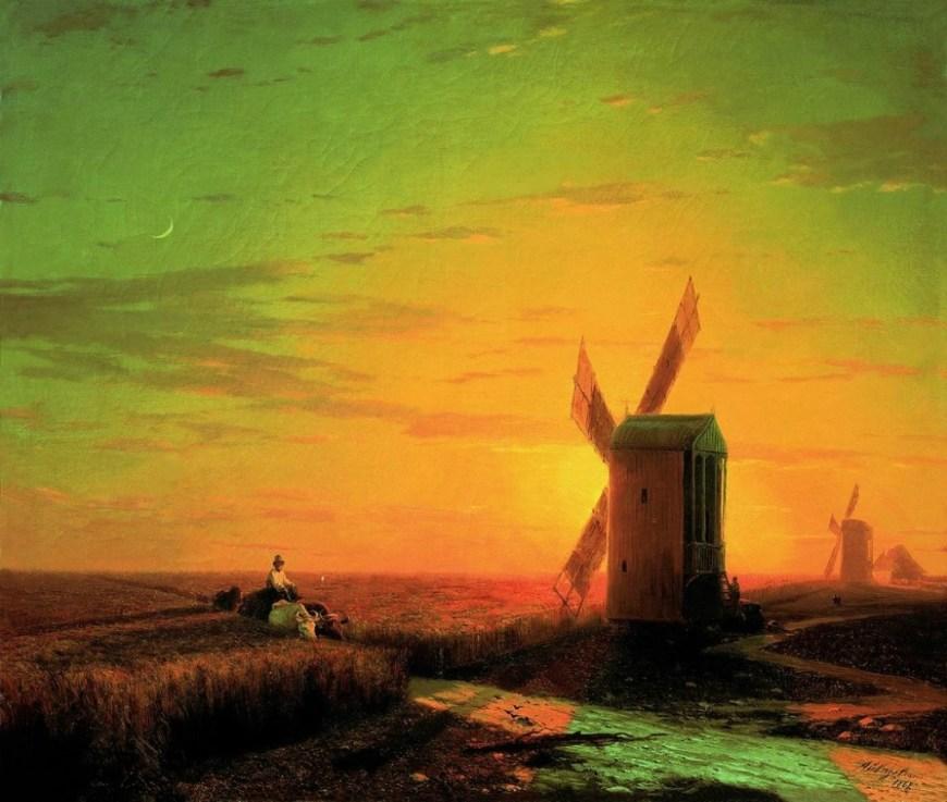 Иван Константинович Айвазовский, «Ветряные мельницы в украинской степи при закате солнца», 1862