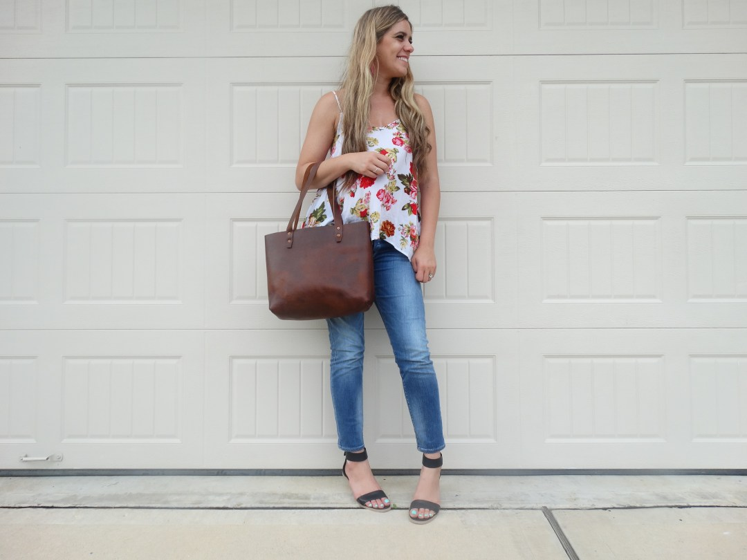 Floral, skinny jeans, wedges, leather bag