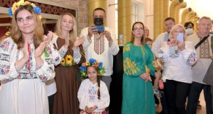 """a family of ukraine set a stall during """"ukraine cultural event""""on the 30the anniversary of independence of Ukraine at pakistan national council of arts in Cpital"""