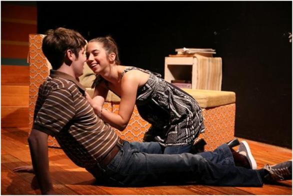 Luke Hofmaier and Alyson Lange in a scene from Dana Leslie Goldstein's Daughters of the Sexual Revolution(Photo credit: Gerry Goodstein)