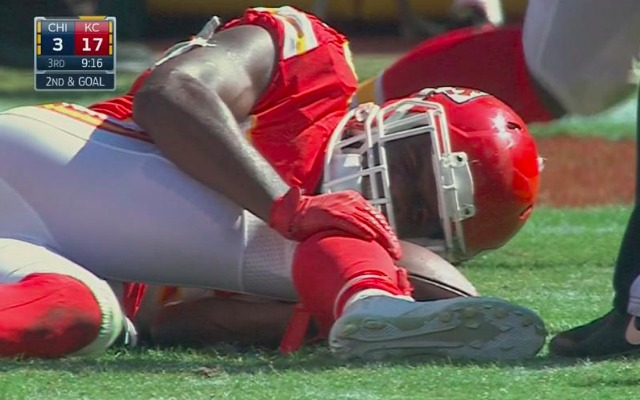 Jamaal Charles, laying in agony after making a cut in the 3rd quarter. A non-contact right knee injury.