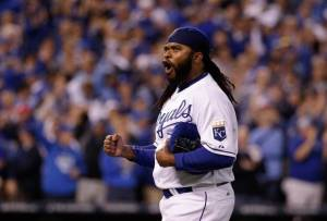 Johnny Cueto pumping his fist as he walks off the mound after the top of the 8th inning. ALDS Game 5.